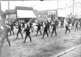 Military marching band on State St. in Salem, Oregon