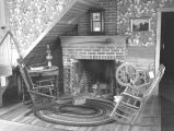 Interior of newly restored home of Dr. Robert Newell at Champoeg Park in Marion County, Oregon,...