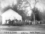 Students and teachers of the Eola School in Eola, Oregon, 1850s