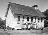 Teacher & students in front of the old Eola School, Eola, Polk County, Oregon, 1938