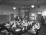 Classroom in old Eola School in Eola, Polk County, Oregon, 1930's
