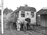 Railroad engine operated on the Valsetz-Independence line in Valsetz, Oregon,  1938