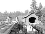 Sam Creek Covered Bridge over the Siletz River in Lincoln County, Oregon, 1945
