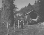 Drift Creek Covered Bridge in Lincoln County, Oregon, ca 1957