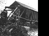 Gallon House Covered Bridge over Abiqua Creek in Marion County damaged by 1964 flood, 1965