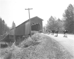 Bates Park Covered Bridge (McDowell Covered Bridge) over the South Santiam River in Linn County,...