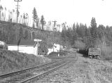 Railroad tracks and a station at Eola, Polk County, Oregon, 1953