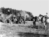 Threshing taking place at John Gowers farm in or near Howell Prairie, in Marion County, Oregon in...