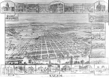 Salem, Oregon, aerial view sketch with pictures of some of its landmarks surrounding it, 1890