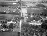 Aerial view of Dome Bldg and Oregon State Hospital area, Salem, Oregon, 1947
