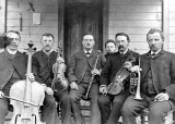 Five musicians in Aurora Colony, Oregon, 1860s
