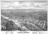 Bird's eye view of Salem, Oregon and surrounding areas in 1876