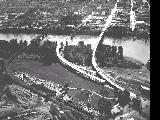 Aerial view of the bridges across the Willamette River in Salem, Oregon, 1952