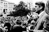 Bobby Kennedy addressing crowd of people on campaign stop in Salem, Oregon, 1968