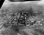 Aerial view looking east at Salem, Oregon from over the Willamette River, 1961