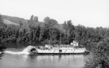 "Sternwheeler ""Claire"" leaving Wilsonville on the Willamette River in Oregon"