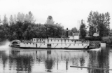 "Sternwheeler ""Claire"", at the ferry landing on the Willamette River at Wilsonville,..."