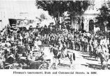 Firemen's tournament at State & Commercial streets, Salem, Oregon, 1886
