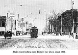 Looking east on State Street from Commercial in Salem, Oregon, c1905