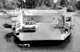 Launching of Wheatland Ferry #4 on the Willamette River north of Salem, Oregon, 1968