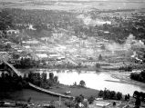 Aerial view of downtown Salem, Oregon, from the Goodyear blimp, 1947