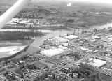 Aerial view of Boise Cascade paper processing plant and Salem Civic Center in Salem, Oregon