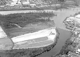Aerial view of Boise Cascade paper processing lagoons on Minto Island, Salem, Oregon